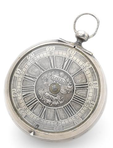 Thomas Tompion. A very fine and historically important early balance-spring silver key wind pocket watchCirca 1675-7