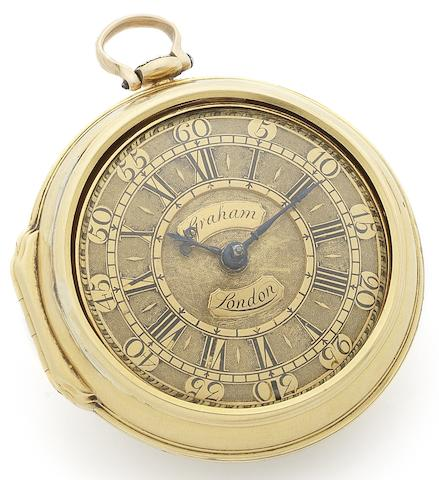 George Graham. A fine early 18th century 22ct gold pair case pocket watch  Movement Numbered 5074, Case Numbered 5045, London Hallmark for 1724