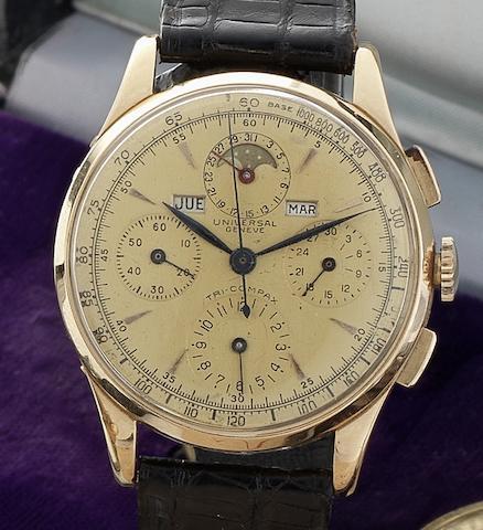 Universal. A fine and rare 18ct gold manual wind triple calendar chronograph wristwatch Circa 1950