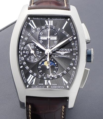 Longines. A stainless steel automatic chronograph wristwatch with moon phasesEvidenza, Circa 2007