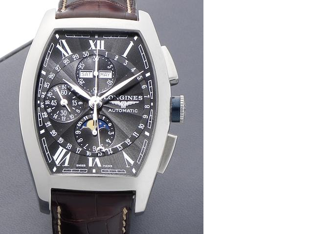 Longines. A stainless steel automatic chronograph wristwatch with moon phases Evidenza, Circa 2007