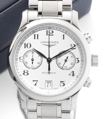 Longines. A stainless steel automatic chronograph calendar bracelet watch Longines Master Chronograph, Ref:651, Recent