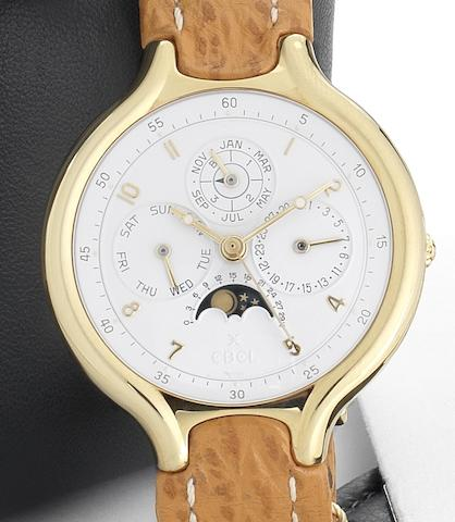 Ebel. A fine and rare 18ct gold automatic centre seconds perpetual calendar wristwatch with moon phases Beluga, Ref:8129960, Circa 1990