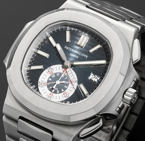 Patek Philippe. A fine stainless steel automatic flyback chronograph calendar bracelet watchNautilus, Ref:5980/1A, Case No.4463666, Movement No.3668942, Sold 18th December 2008