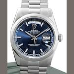 Rolex. A very fine platinum automatic calendar bracelet watch together with box and papers Day-Date, Ref:118206, Serial No.Z49****, Sold 16th August 2007