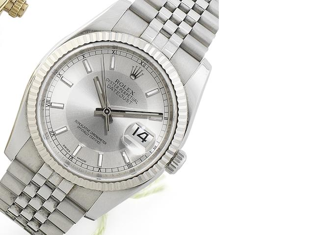 Rolex. A stainless steel automatic calendar calendar bracelet watch Datejust, Ref:116234, Serial No.286*****, Sold 18th February 2012