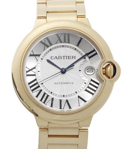 Cartier. A fine 18ct gold automatic calendar bracelet watch together with Cartier box and papers Ballon Bleu, Sold 17th March 2012