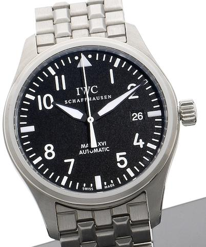 IWC. A stainless steel automatic bracelet watch together with fitted box and papersSpitfire Mark XIV, Ref:3255, Sold 3rd May 2012