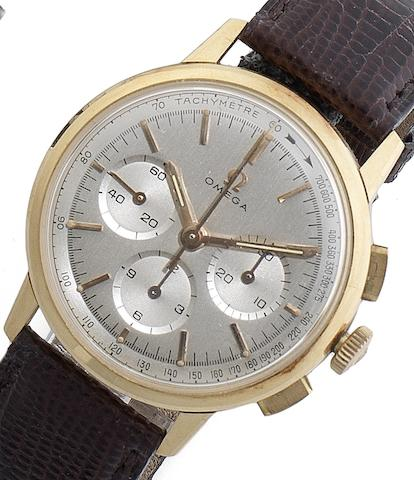 Omega. A fine 18ct rose gold manual wind chronograph wristwatch Ref:671, Case No.10101054, Movement No.22081286, Circa 1965