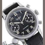 Hanhart. A rare stainless steel manual wind German military chronograph wristwatch Bundeswehr, Circa 1955
