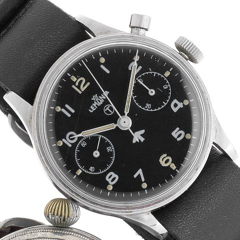Lemania. A stainless steel manual wind military issue single button chronograph wristwatchRoyal Airforce, Movement No.475723, Circa 1955