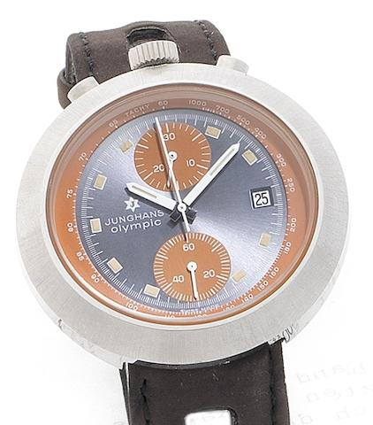 Junghans. A stainless steel chronograph calendar wristwatch Olympic, Circa 1970
