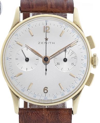 Zenith. An 18ct gold manual wind chronograph wristwatch Circa 1950