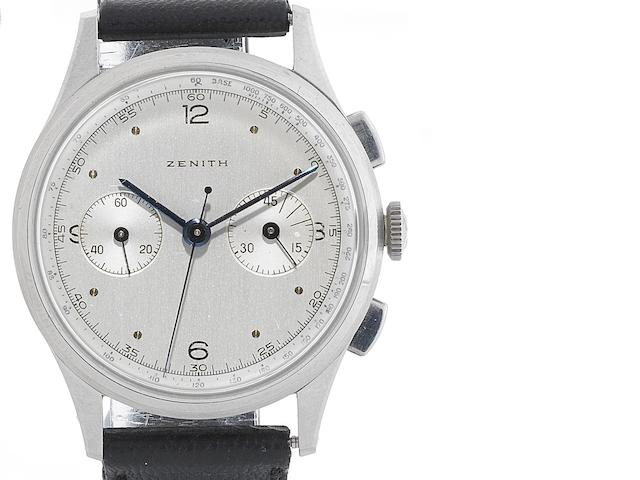 Zenith. A stainless steel manual wind chronograph wristwatch Circa 1950