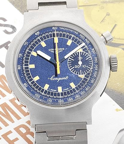 Longines. A stainless steel manual wind single button chronograph bracelet watch for the 1972 Munich Olympic GamesConquest, Commemorative Edition made in 1972