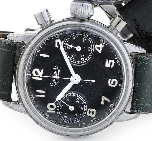Hanhart. A nickel plated manual wind chronograph Military wristwatch Circa 1960