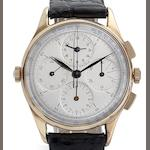 Universal. A gold cased manual wind chronograph wristwatch Aero-Compax, Case stamped with London Import Mark for 1962