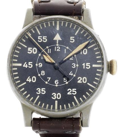 A.Lange & Söhne. A fine and rare German military issue pilot's observation wristwatch Case and Movement No.215958, Circa 1942