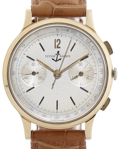 Ulysse Nardin. An 18ct rose gold manual wind chronograph wristwatchCase No.766027, Movement No.7500318, Circa 1950