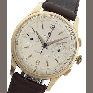 Universal. An 18ct gold manual wind chronograph wristwatch with rare pulsation dial Medico Compax, Circa 1950