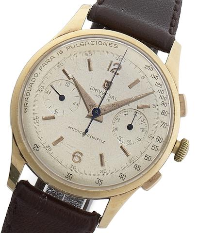 Universal. An 18ct gold manual wind chronograph wristwatch with rare pulsation dialMedico Compax, Circa 1950