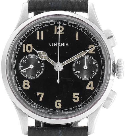 Lemania. A rare stainless steel manual wind chronograph wristwatchCirca 1945