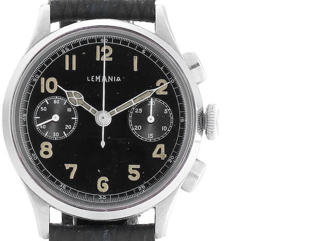 Lemania. A rare stainless steel manual wind chronograph wristwatch Circa 1945