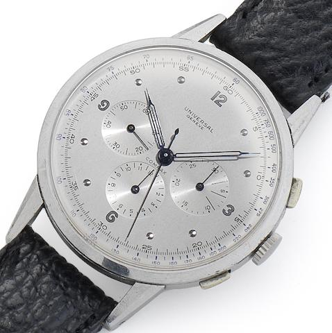 Universal. A fine and rare stainless steel oversized manual wind chronograph wristwatchCompax, Movement No.260453, Case No.1193794/22430, Circa 1945