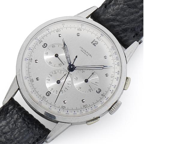 Universal. A fine and rare stainless steel oversized manual wind chronograph wristwatch Compax, Movement No.260453, Case No.1193794/22430, Circa 1945