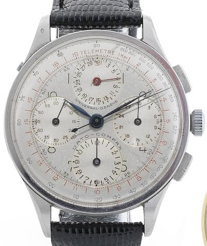 Universal. A fine and rare stainless steel manual wind chronograph calendar wristwatch Dato-Compax, Circa 1950