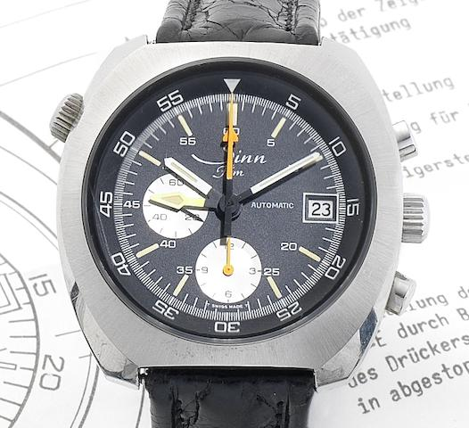 Sinn. A stainless steel calendar chronograph wristwatch with additional GMT hand and original setting instructionsCirca 1978