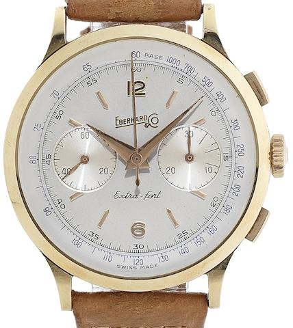 Eberhard & Co. An 18ct gold manual wind chronograph wristwatchExtra-fort, Case No.14007641, Circa 1960