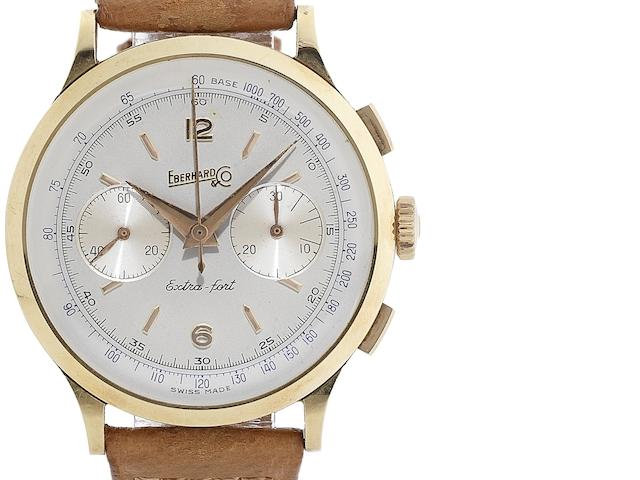 Eberhard & Co. An 18ct gold manual wind chronograph wristwatch Extra-fort, Case No.14007641, Circa 1960