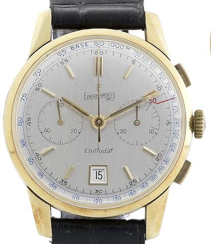 Eberhard & Co. A fine 18ct gold manual wind chronograph wristwatch Chronodat, Case No.31502743, Circa 1930