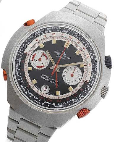 Jaquet Girard. A stainless steel manual wind chronograph calendar world time bracelet watch with Hamilton movement  Chronomatic Countdown, Circa 1975