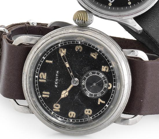 Zenith. A nickel plated manual wind oversized wristwatch with rotating bezelCase No.8210297, Movement No.3199847, Circa 1945