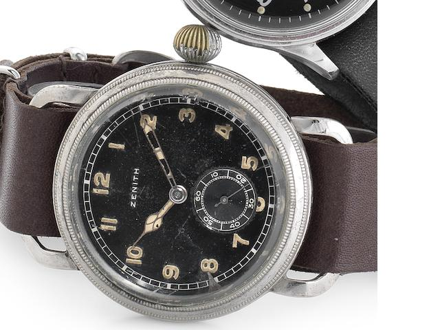 Zenith. A nickel plated manual wind oversized wristwatch with rotating bezel Case No.8210297, Movement No.3199847, Circa 1945