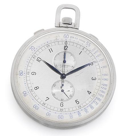 Universal. A fine keyless wind open face chronograph pocket watch Circa 1945