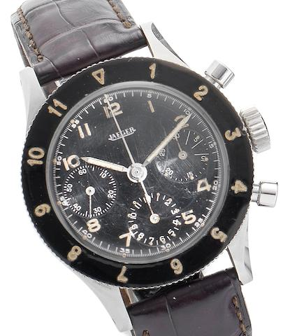 Jaeger. A rare stainless steel manual wind military style chronograph wristwatch Circa 1960