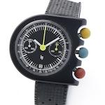 LIP. An unusual black coated chronograph wristwatch designed by Roger Tallon Circa 1975