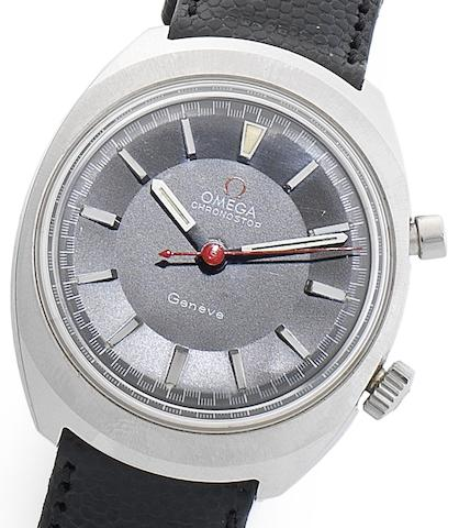 Omega. A stainless steel manual wind single button chronograph wristwatchChronostop, Circa 1967