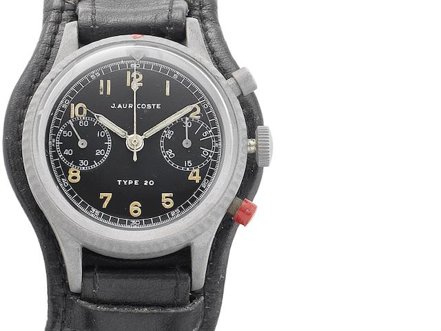 J.Auricoste. A chrome plated manual wind chronograph wristwatch Type 20, Circa 1960