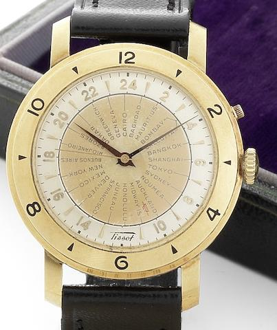 Tissot. An 18ct automatic world time wristwatchNavigator, Case No.4041530, Movement No.2798670, Circa 1950