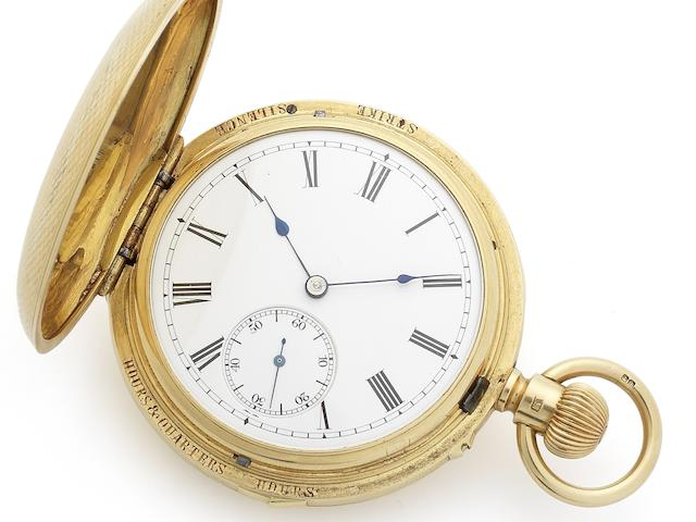Swiss. A very fine 18ct gold late 19th century keyless wind full hunter Grande Sonnerie clock watch Circa 1890