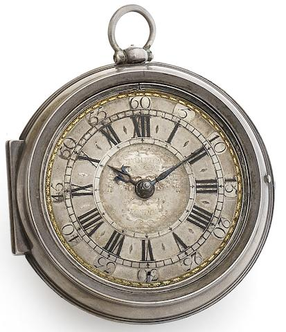 Tompion and Banger. A fine and rare champleve dial silver pair case pocket watch No.3714, Circa 1710