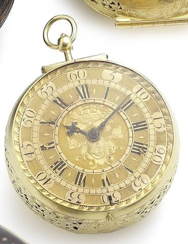 Macham. A very fine and rare 22ct gold pair case clock watch with outer leather caseCirca 1705