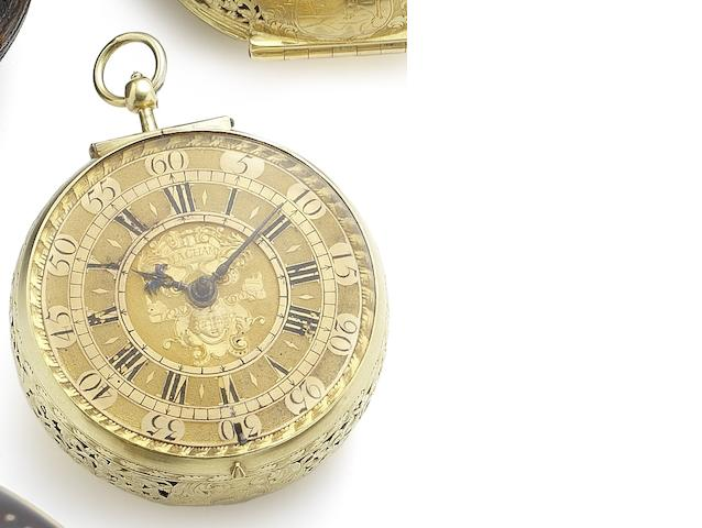 Macham. A very fine and very rare 22ct gold pair case clock watch with outer leather case Circa 1705