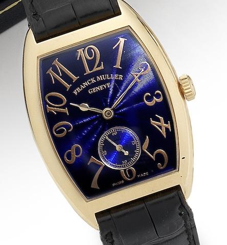 Franck Muller. A mid-sized 18ct gold manual wind rectangular wristwatch Ref:7501S6MM, Numbered 152, Sold 19th December 1997