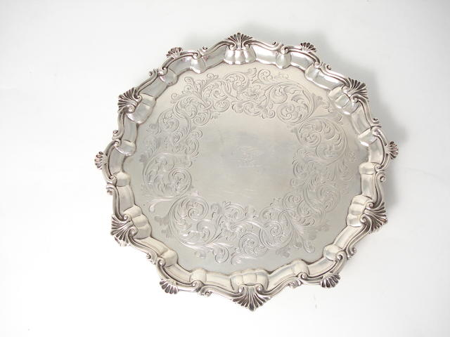 A Victorian silver waiter by D. & C. Houle, London 1849