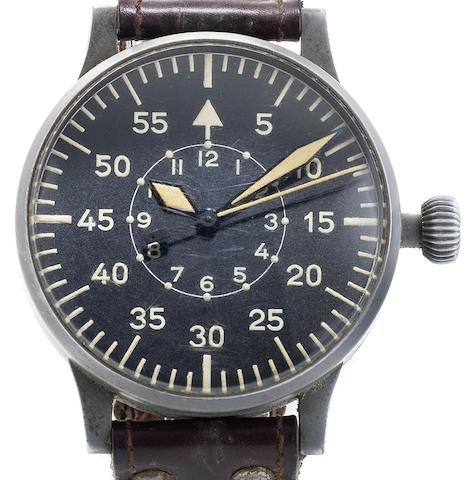 Laco. A rare German military issue pilot's observation wristwatchCase No.23883, Movement No.03904, Circa 1942